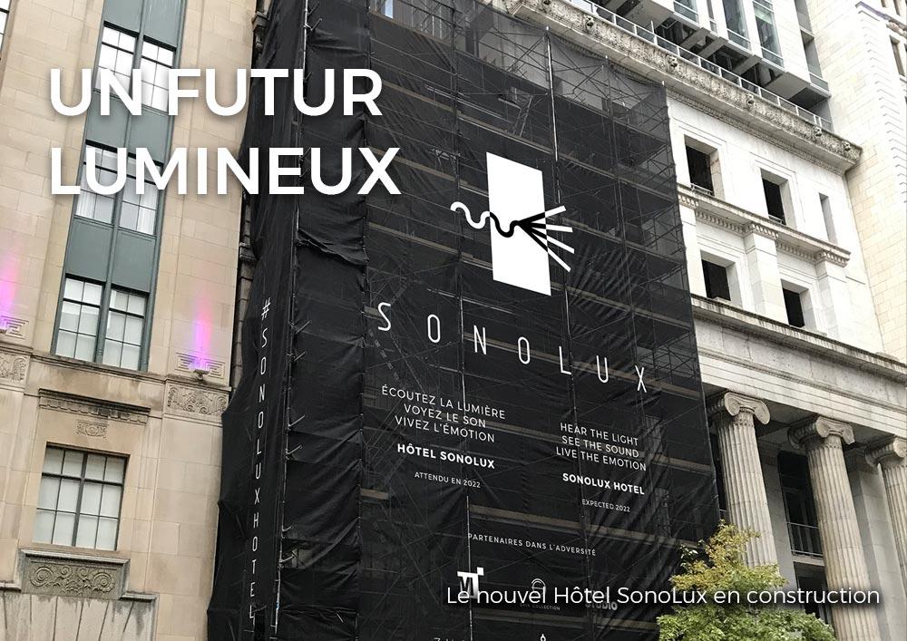 Le nouvel Hôtel SonoLux en construction dans le Vieux-Montréal